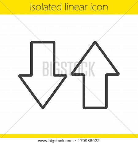 Up and down arrows linear icon. Thin line illustration. Download and upload. Opposite direction arrows contour symbol. Vector isolated outline drawing