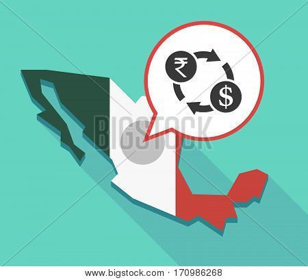 Long Shadow Mexico Map With  A Rupee And Dollar Exchange Sign
