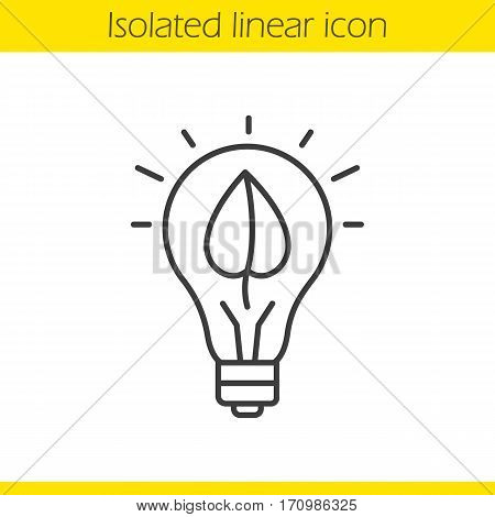 Eco energy concept linear icon. Thin line illustration. Lightbulb with plant leaf contour symbol. Vector isolated outline drawing