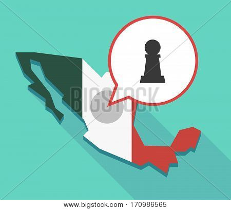Long Shadow Mexico Map With A  Pawn Chess Figure