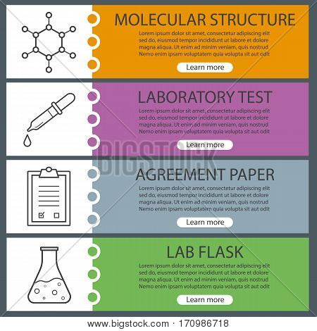 Science lab banner templates set. Easy to edit. Pipette with drop, beaker, molecular structure and lab clipboard. Website menu items with linear icons. Color web banner. Vector headers design concepts