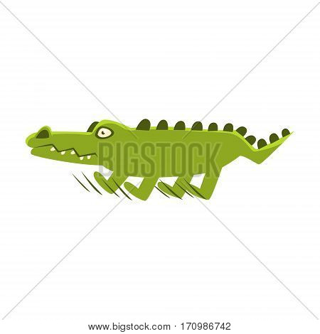 Crocodile Suddenly Breaking The Run , Cartoon Character And His Everyday Wild Animal Activity Illustration. Green Alligator Reptile Vector Drawing In Childish Cute