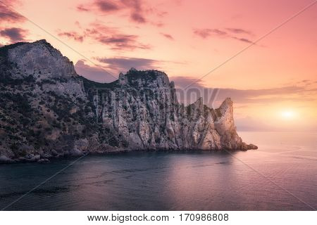Mountain Landscape On The Sea At Sunset