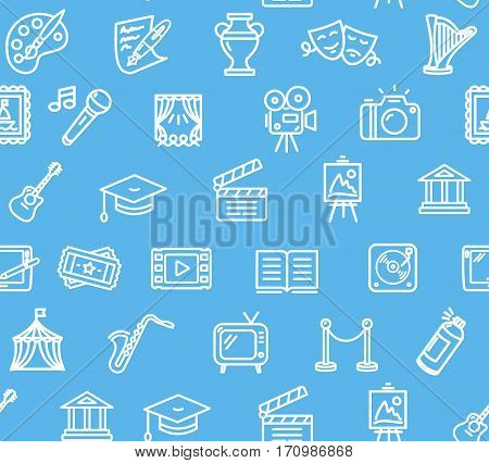 Culture and Creative Fine Art Background Pattern on Blue Design for Web. Vector illustration