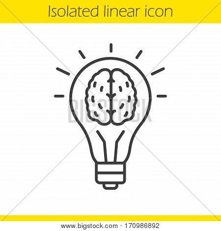 Good idea linear icon. Human brain inside light bulb. Thin line illustration. Eureka contour symbol. Vector isolated outline drawing