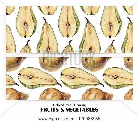 Set of seamless patterns with yellow pears drawn by hand with colored pencil. Healthy vegan food. Fresh tasty fruits painted from nature