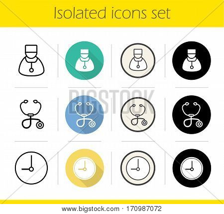 Hospital icons set. Flat design, linear, black and color styles. Therapist, stethoscope, clock. Doctor reception hours. Isolated vector illustrations