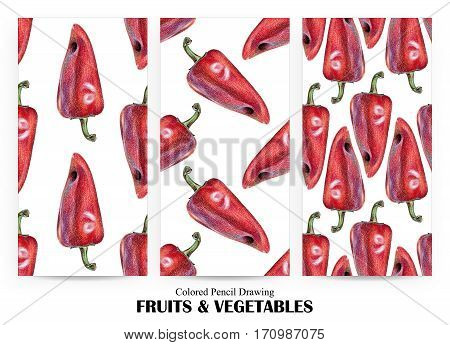 Set of seamless patterns with red peppers drawn by hand with colored pencil. Healthy vegan food. Fresh tasty vegetables painted from nature