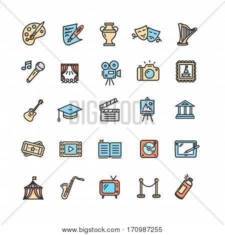 Culture and Creative Fine Art Color Icons Set Element Design for Web. Vector illustration