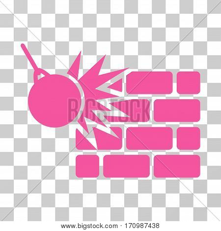 Destruction icon. Vector illustration style is flat iconic symbol pink color transparent background. Designed for web and software interfaces.