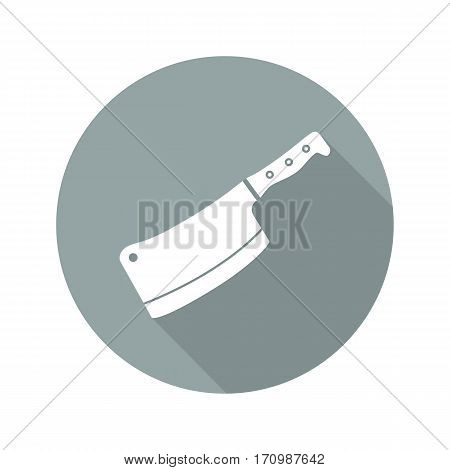 Butcher's knife flat design long shadow icon. Meat cleaver. Vector silhouette symbol