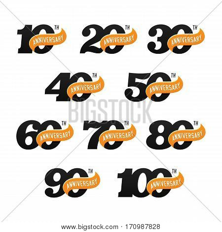 The set of anniversary signs from 10th to 100th. Stock vector illustration. Design elements on a white background.