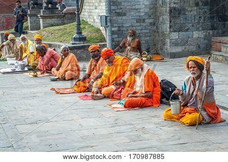 Kathmandu, Nepal - Feb 3 2016: Colorful Sadhu at Mahashivatri Festival in Pashupatinath Temple, Kathmandu, Nepal.