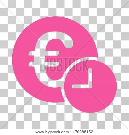 Euro Credit icon. Vector illustration style is flat iconic symbol pink color transparent background. Designed for web and software interfaces.
