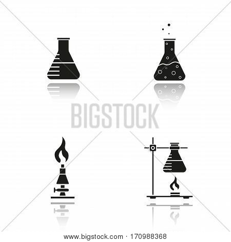 School chemistry lab equipment drop shadow black icons set. Beaker with liquid, ring stand with flask, laboratory burner, chemical reaction. Isolated vector illustrations