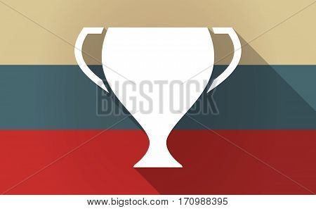Long Shadow Russia Map With  An Award Cup