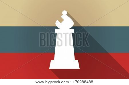 Long Shadow Russia Map With A Bishop    Chess Figure