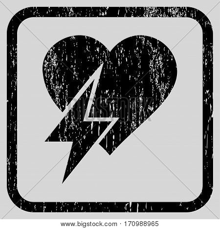 Heart Shock rubber watermark. Vector icon symbol inside rounded rectangular frame with grunge design and dirty texture. Stamp seal illustration. Unclean black ink emblem on a light gray background.