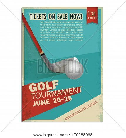 Retro golf poster or flyer with a golf player. Text and background on a separate layer, color can be changed in one click.