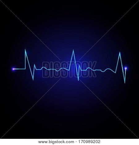 Vector Illustration of a Cardiac Frequency on dark blue background.
