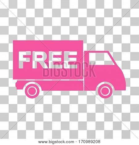 Free Shipment icon. Vector illustration style is flat iconic symbol pink color transparent background. Designed for web and software interfaces.