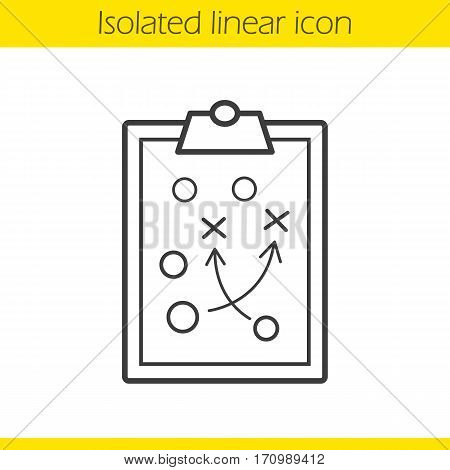 Clipboard game plan linear icon. Thin line illustration. Sport game strategy scheme. Contour symbol. Vector isolated outline drawing