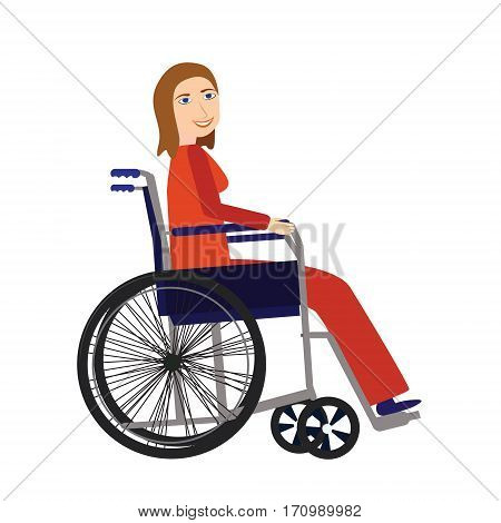 Disability person concept. Young disable woman in wheelchair isolated on white background.