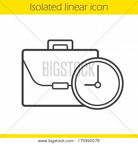 Work time linear icon. Working hours thin line illustration. Business briefcase with clock. Contour symbol. Vector isolated outline drawing