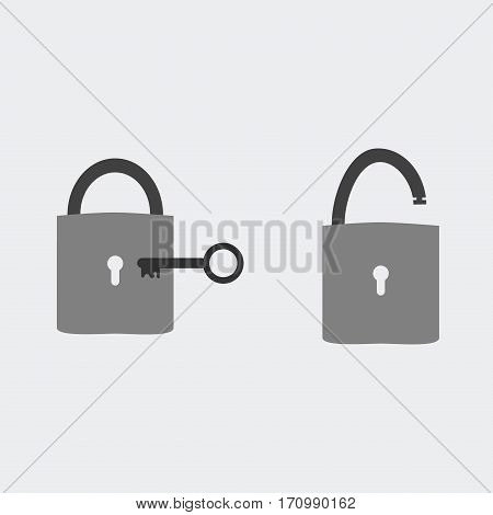 Open and closed lock with key vector icon. Security and safe abstract concept.