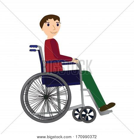 Disabled young man in a wheelchair medical health concept.