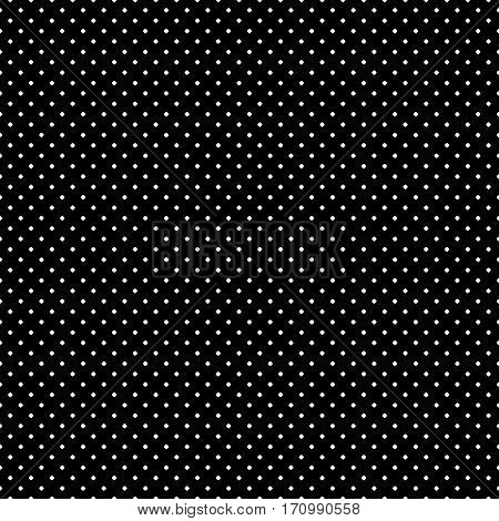 Vector monochrome seamless pattern, polka dot texture, small circles & spots. Simple dark geometric background, abstract black & white background, repeat tiles. Design for print, textile, decoration, furniture, digital, web