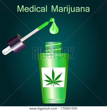 Bottle with liquid medical marijuana with pipette on dark background vector illustration.