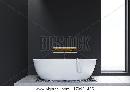 Close Up Of Bathroom With Window And Stones