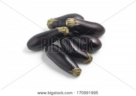 Mini Baby Eggplant isolated on white background