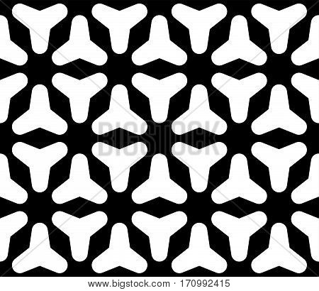 Vector seamless pattern, simple dark abstract geometric texture, black & white rounded figures, repeat tiles. Modern monochrome background. Design for prints, decoration, textile, furniture, clothes, digital, web