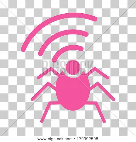 Radio Spy Bug icon. Vector illustration style is flat iconic symbol pink color transparent background. Designed for web and software interfaces.