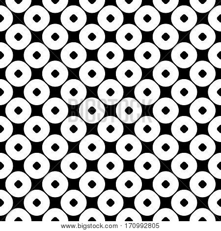 Vector seamless pattern, abstract monochrome geometric background, perforated circles. Simple figures, repeat tiles. Stylish dark modern texture. Black & white. Design for prints, embossing, textile, decoration, clothes, furniture, digital, web