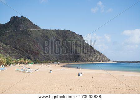 Yellow sand tropical beach Teresitas Tenerife Canary Islands
