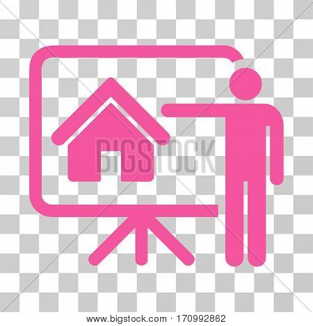 Realtor icon. Vector illustration style is flat iconic symbol pink color transparent background. Designed for web and software interfaces.