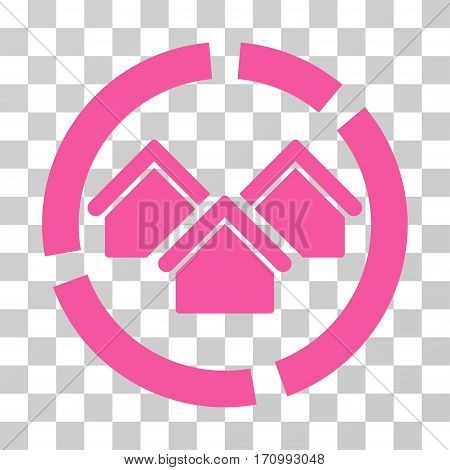 Realty Diagram icon. Vector illustration style is flat iconic symbol pink color transparent background. Designed for web and software interfaces.