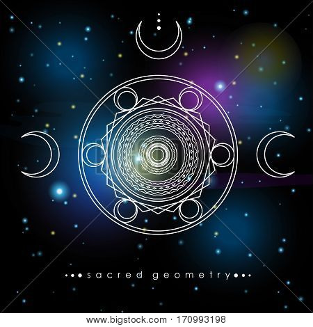 vector illustration with sacred geometry symbols on cosmic background