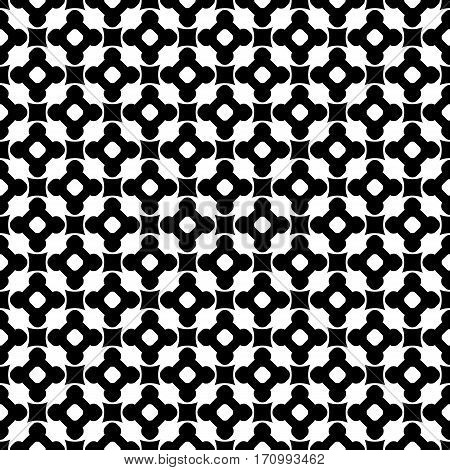 Vector monochrome seamless pattern, black & white repeat ornamental texture, endless texture. Abstract mosaic background with simply geometric figures, flowers, cubes, circles. Contrast design