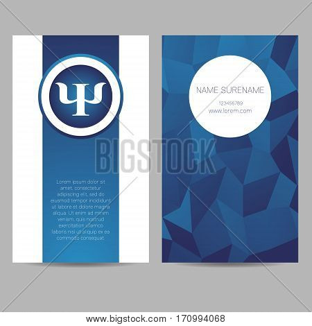 Vector Psychology Web banner design background or header Templates. Psi sign. Symbol and icon, icon. Creative style. Brand company concept. Blue color book