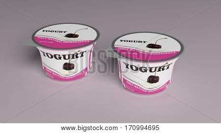 Cherry Yogurt plastic cup packaging on colored background. 3d illustration