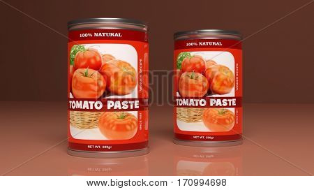 Tomato paste metallic cans on colored background. 3d illustration