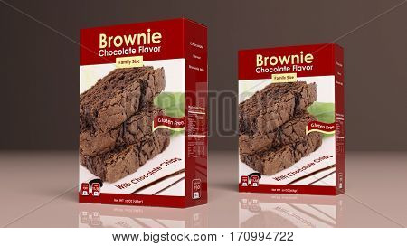 Chocolate brownie mix paper packages on colored background. 3d illustration