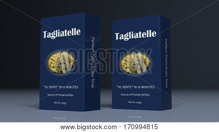 Tagliatelle paper packages on colored background. 3d illustration