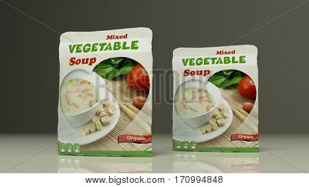 Vegetables soup packets on colored background. 3d illustration