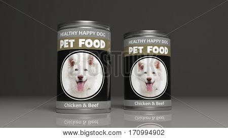 Dog food metallic cans on colored background. 3d illustration