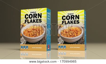 Corn flakes paper packages on colored background. 3d illustration